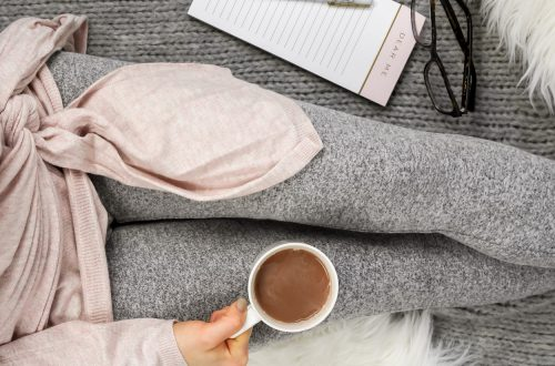 woman in morning routine with coffee