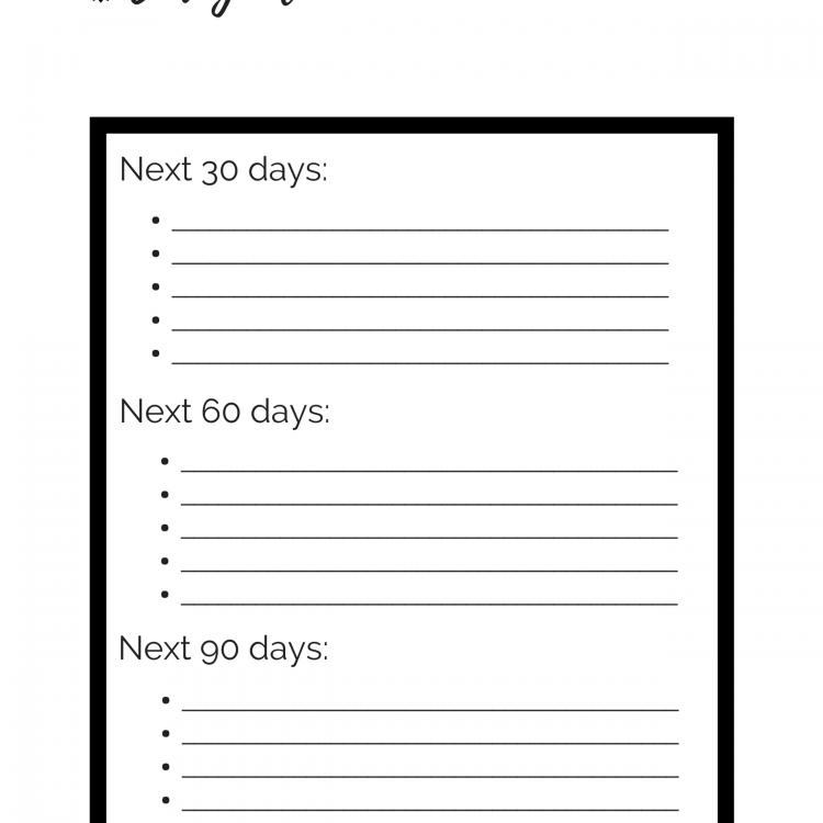 90 Day Goals Sheet
