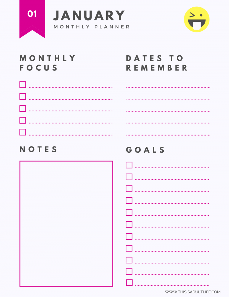 One Year Goal Planner