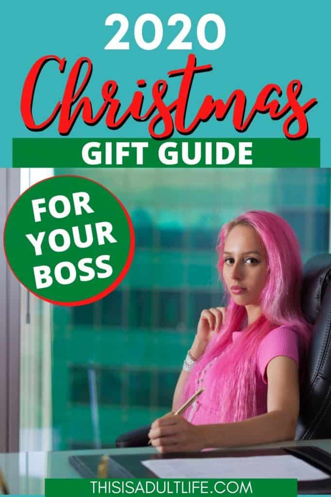 Christmas Gift Guide showing female boss sitting at an office desk