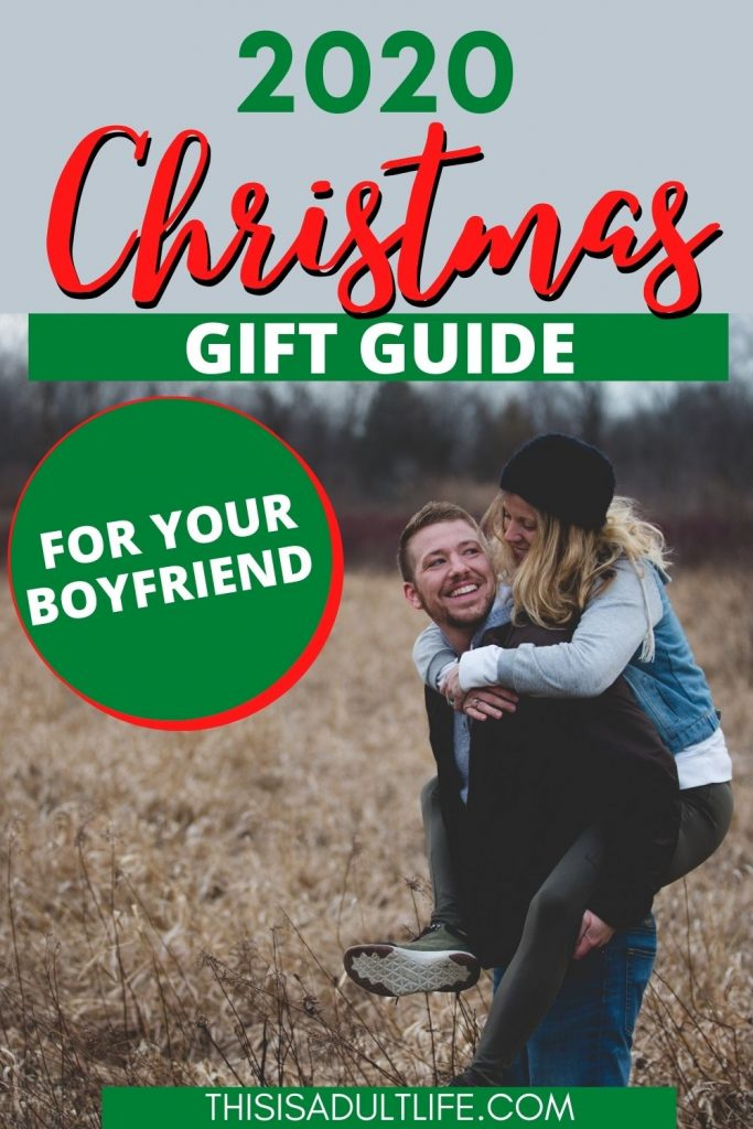 Gift guide showing boyfriend and girlfriend playing in a field