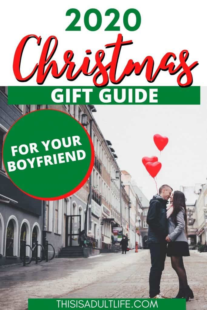 Gift guide showing boyfriend and girlfriend kissing at Christmas