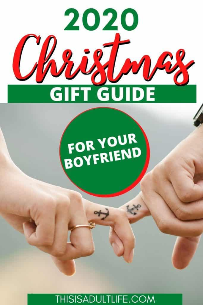 2020 Christmas Gift Guide showing boyfriend and girlfriend holding hands