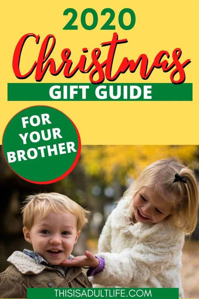 Christmas gift guide with picture of brother and sister