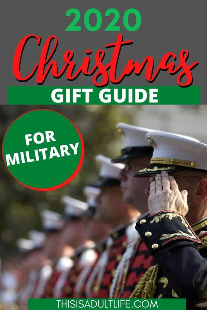 Christmas gift guide for military with soldier saluting