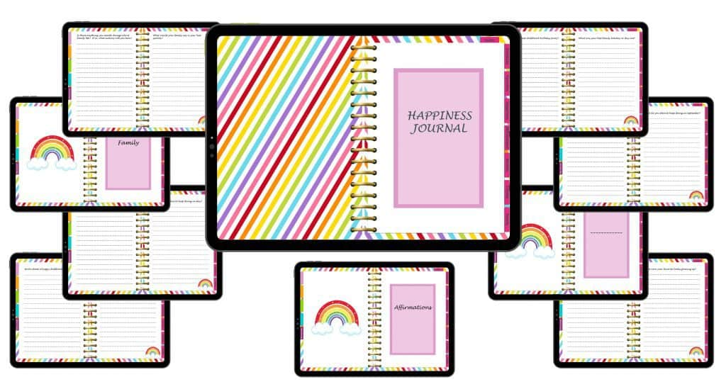 mockups on ipad of digital happiness journal